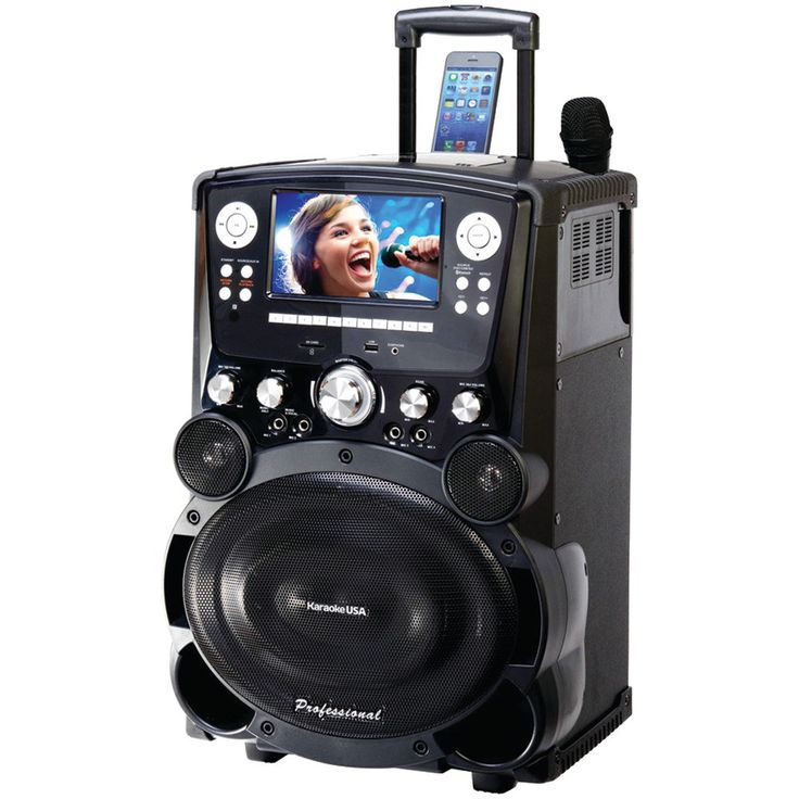 """Karaoke Usa Professional Dvd And Cd+g And Mp3+g Bluetooth Karaoke System With 7"""" Tft Color Screen & Tote Wheels"""