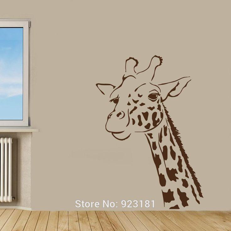 Hot Giraffe Animal Giraffe Head Wall Art Sticker Decal Home DIY Decoration Wall Mural Removable Room Decor Stickers 81x57cm(China (Mainland))