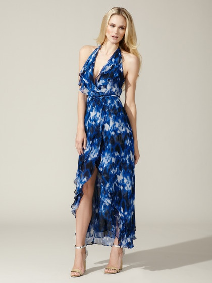 Robert Rodriguez  Layered Silk Halter Maxi Dress