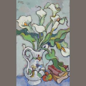 Gregoire Johannes Boonzaier (South African, 1909-2005) 'Arums, white jug