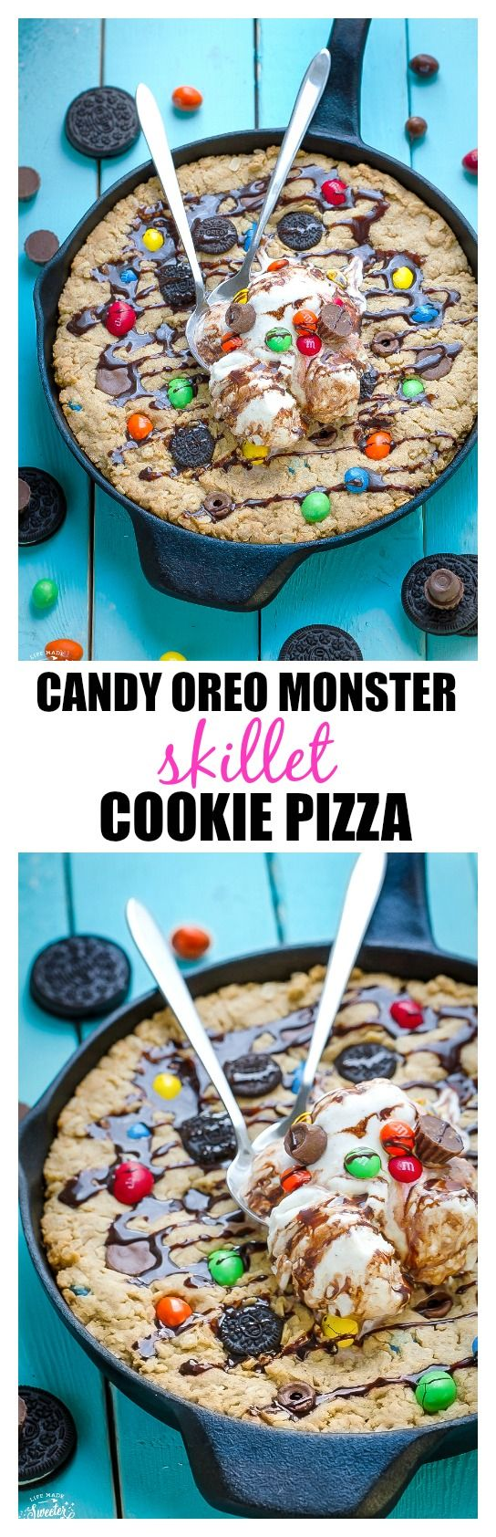 Candy Oreo Monster Skillet Cookie Pizza is the perfect way to use up leftover Halloween candy
