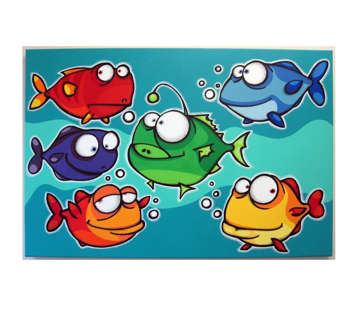A bUNcH oF FiSHEs - 24x36 original acrylic painting on canvas- fish art, fish painting, fish room decor for kids. $150.00, via Etsy.