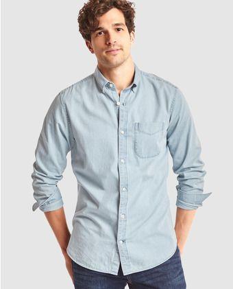 Camisa vaquera de hombre Gap standard fit lisa azul