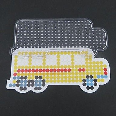 1PCS Template Clear Perler Beads Pegboard Yellow School Bus Pattern for 5mm Hama Beads Fuse Beads - USD $ 1.99