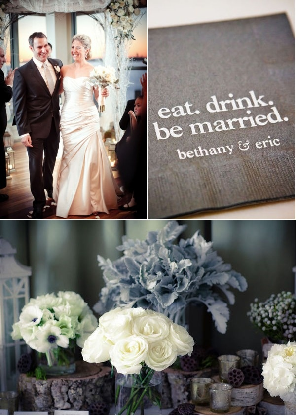 winter wedding: Beautiful Brides, Grey Whit, White Flower, Someday, Dreams, Wedding Flowers, Eating Drinks, Cocktails Napkins, Napkins Ideas