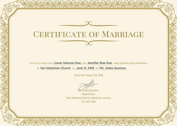 12 Marriage Certificate Templates Certificate Templates