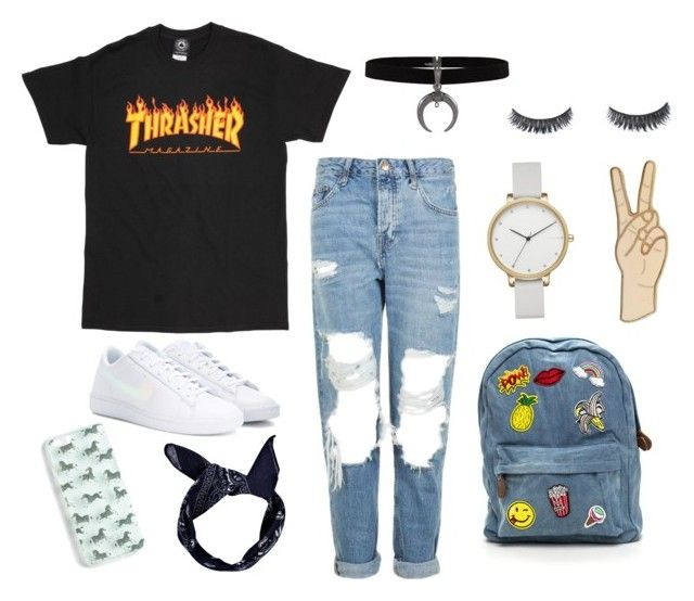 """Skater"" by grekke on Polyvore featuring Topshop, NIKE, Boohoo, J.Crew, Skagen and Lucky Brand"