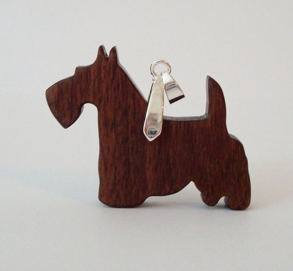Scottish Terrier Scottie Dog Necklace Walnut by OohLookItsARabbit, $16.00