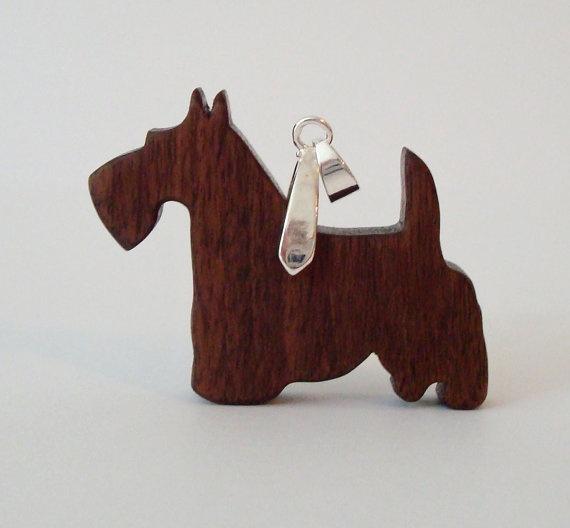 Scottish Terrier Scottie Dog Necklace Walnut by OohLookItsARabbit, $16.00