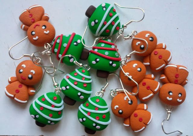 Gingerbread & #Christmas tree #clay charms earrings