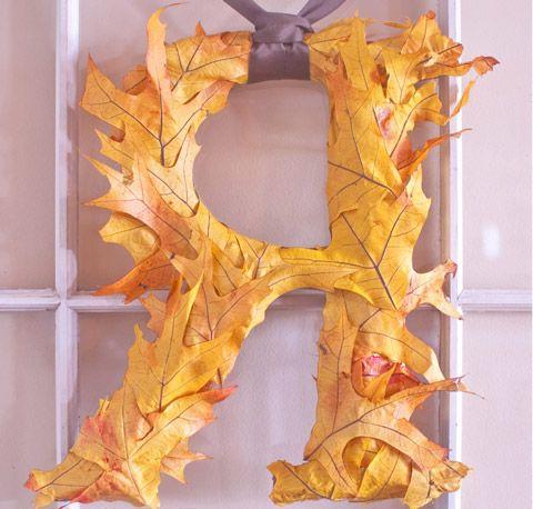 поделки из осенних листьев - буквы