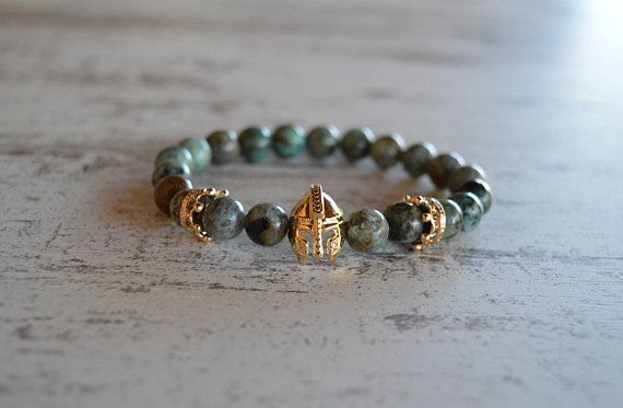 Spartan Warrior Gladiator Helmet Bracelet Men Natural Turquoise,African Turquoise Stone Bead Bracelet men's bracelets bracelet for men gift