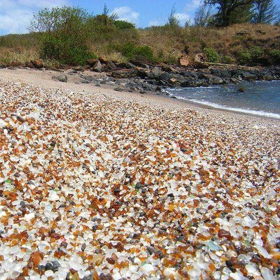 sea glass beach located on Kauai at Hanapepe Bay, an industrial area near Port Allen Harbor