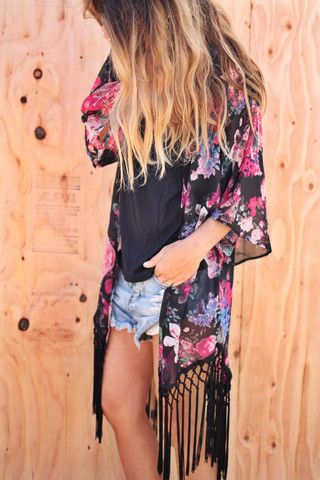 Love this outfit; Pink floral kimono, black top and blue, denim shorts.
