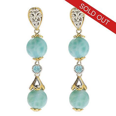 """138-066 - Gems en Vogue 1.5"""" Round Larimar Bead & Swiss Blue Topaz Dangle Earrings"""