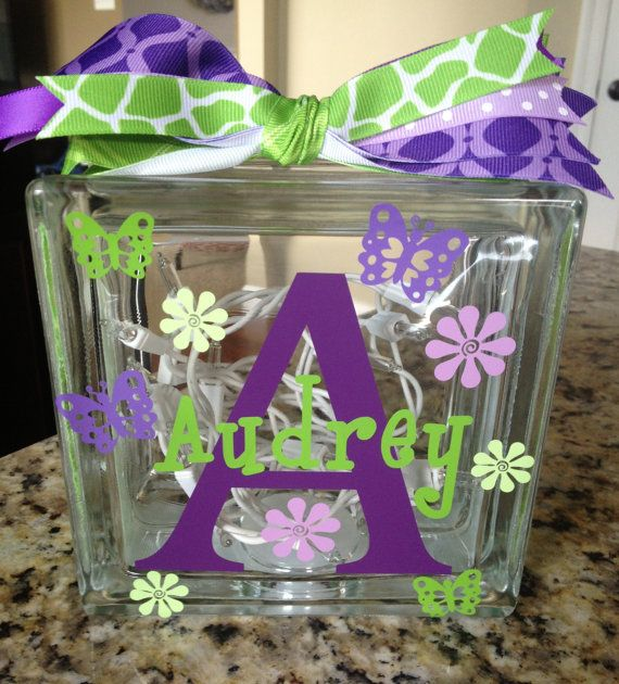 Personalized Vinyl Glass block light with Initial and name with butterflies and flowers