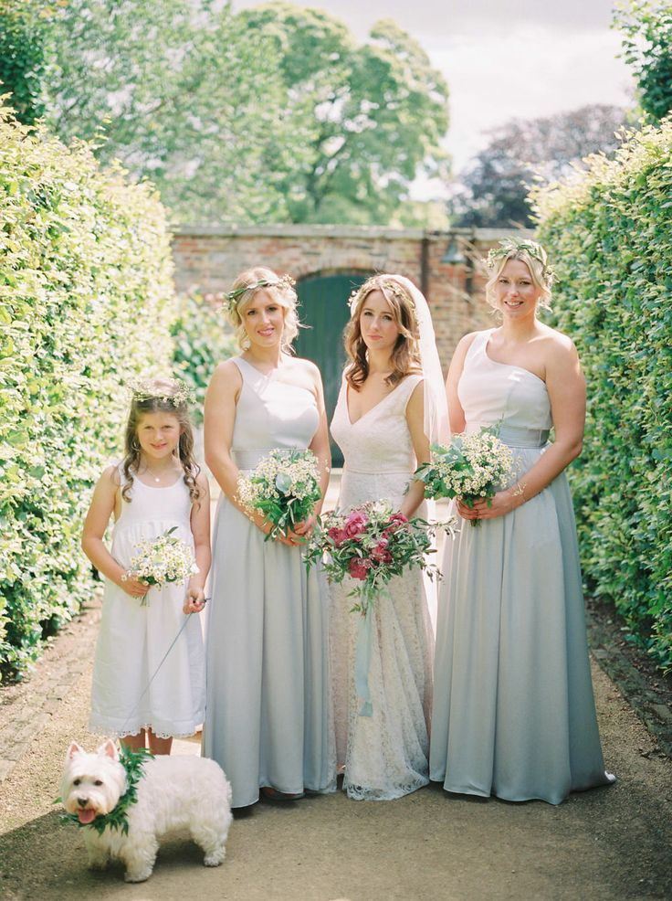 Bespoke Jane Elmer Wedding Gown | Scampston Hall Yorkshire | Vera Wang Grey Bridesmaid Dresses | Samantha Ward Photography | http://www.rockmywedding.co.uk/bianca-sam/