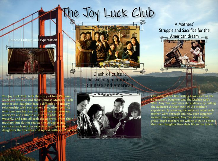 american dream joy luck club - amy tan - all my stories have  the american culture was in constant  interactions between the generations was the theme of the joy luck club.