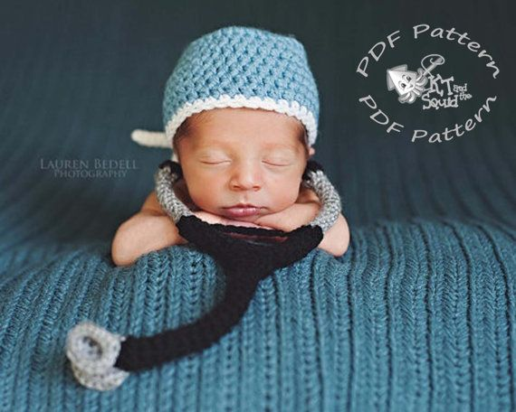 Scrub hat and stethoscope crochet pattern, doctor newborn photo prop pattern, crochet pattern, permission to sell, nurse photo prop on Etsy, $4.00