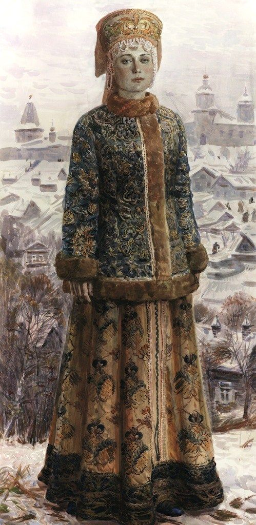 "Russian costume in painting. ""Girl in Winter Landscape"" by Natalia Besednova, a contemporary Russian artist. #art"