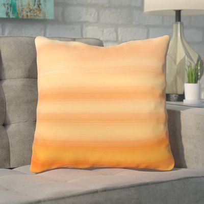 "Mercury Row Aguero Ombre Watercolors Throw Pillow Size: 16"" H x 16"" W, Color: Tangerine"