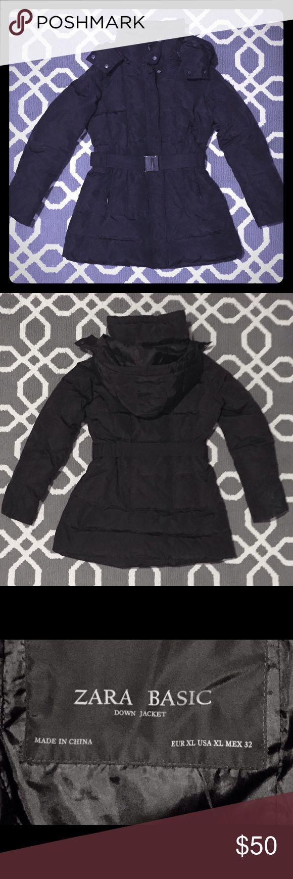 Zara Basic black down jacket, Ladies XL Zara Basic black down jacket, Ladies XL. Excellent condition; only worn a few times. Jacket is fitted at waist, has a detachable hood & is super warm! Zara Jackets & Coats Puffers