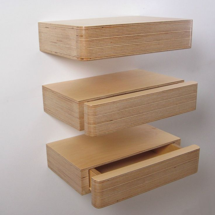 Pacco Floating Drawers from Mocha - Perfect for small spaces; Pacco is a floating shelf with concealed drawer. Handmade in solid ply, a discreet grip underneath allows you to slide the drawer open. Designed by Samuel Ansbacher