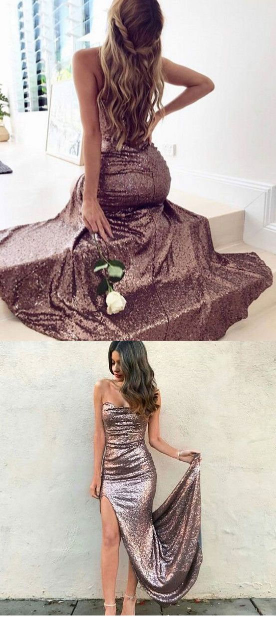 strapless split side sequined prom dresses evening gowns p1543