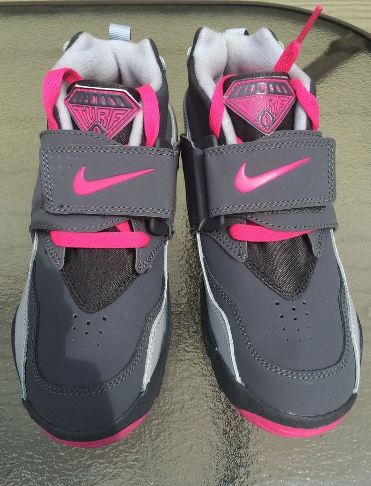 NEW Nike AIR DIAMOND TURF GS SZ 2Y GRAY PINK Training Turf Shoe Sneaker  Raiders #