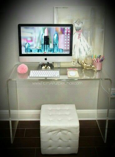 """Desk in acrylic and an ottoman...gorgeous look for any space!!"""
