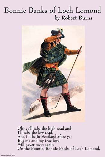 "Song illustrated by a Celtic Sutherland Clansman, illustrated by McClan from a book entitled ""Clans of Scotland""; Loch Lomond is a large Scottish loch located between the traditional counties of Dunba"