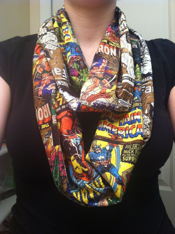 Marvel Comics infinity scarf  . . . could I rock something similarly geeky like this to work?  hmmm . . .