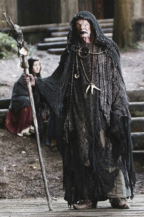 """The Warlock in TV SERIES """"Vikings"""". Haven't looked up the significance to the palm licking, but it's definitely gross."""