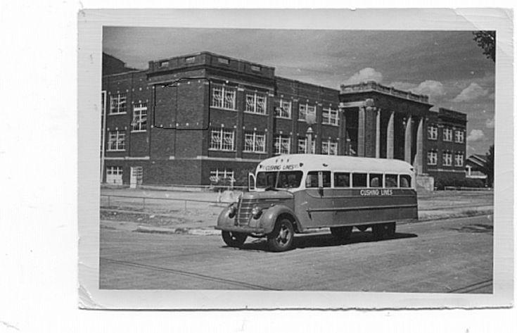 Cushing High School & old school bus . . .