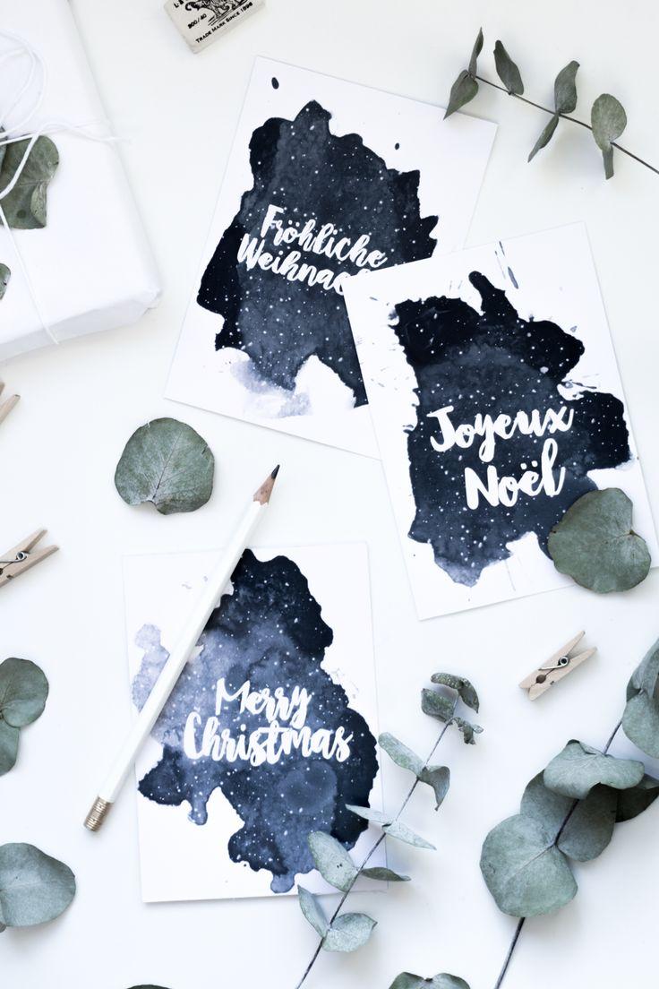 Weihnachten Freebie zum Ausdrucken: Aquarell Weihnachtskarten zum gratis Download auf dem Blog | Free Printable deutsch | Basteln für Weihnachten | DIY Geschenkidee | #freebies #weihnachtskarten '#diy #vorlage