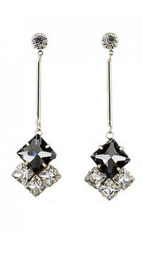 Pair of Elegant Faux Gem Embellished Drop Earrings #Elegant #Black #Crystal #Rhinestone #Drop #Earrings #Affordable #Gift #Ideas #Accessories