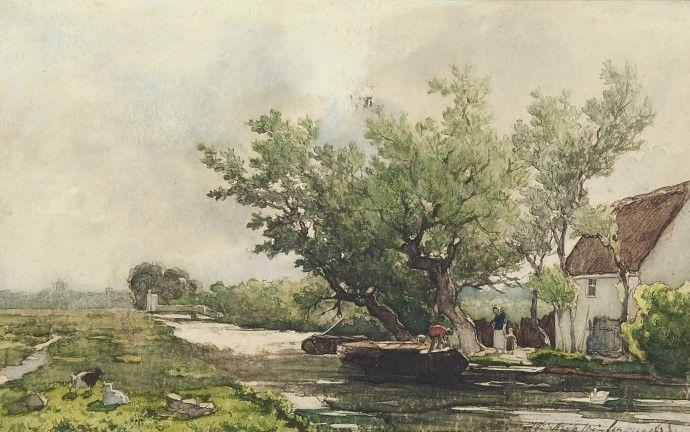 Hendrik Johannes Weissenbruch - Boerenvolk bij huisje aan het water