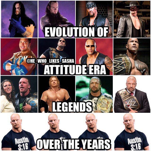Some have changed more than others . Ever since Steve took on the stone cold gimmick he's looked exactly the same throughout the years . The man simply doesn't age.  #wwe #wwememe #wwememes #undertaker #theundertaker #kane #attitudeera #therock #justbringit #dwaynejohnson #dwaynetherockjohnson #tripleh #dx #shawnmichaels #stonecold #stonecoldsteveaustin #austin316 #wrestler #wrestling #prowrestling #professionalwrestling #wwf #worldwrestlingentertainment #wweuniverse #wwenetwork #raw #sma...