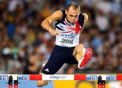 Dai Greene. Welsh legend and one of the favourites for 400m hurdles gold at London 2012. He's also my favourite GB athlete - so cool under pressure in an event that all about power and pain. I've also GOT TICKETS to the 400m hurdles final so here's hoping...