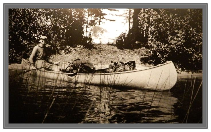 Tom Thomson in his canoe, lakeside, a photo of a photo I took at the Tom Thomson Art Gallery, as are all the photos on the board.
