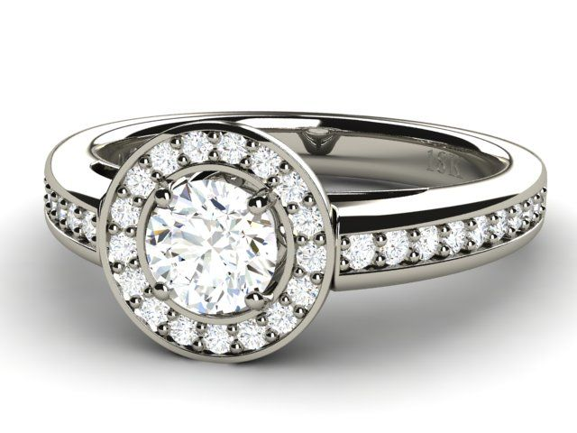 Halo Diamond Ring with Accents 18K White Gold - Paul Jewelry