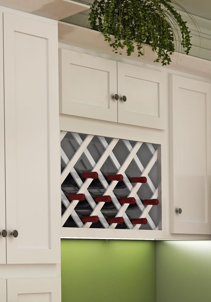 White Shaker Style Wall Wine Rack Dream Kitchens Modern Pinterest And