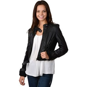 Brinley Co. Juniors Faux Leather Snap Collar Jacket