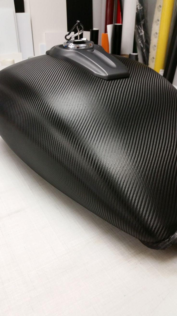 Motorcycle Gas Tank Complete Wrap In Black Carbon Fiber Vinyl
