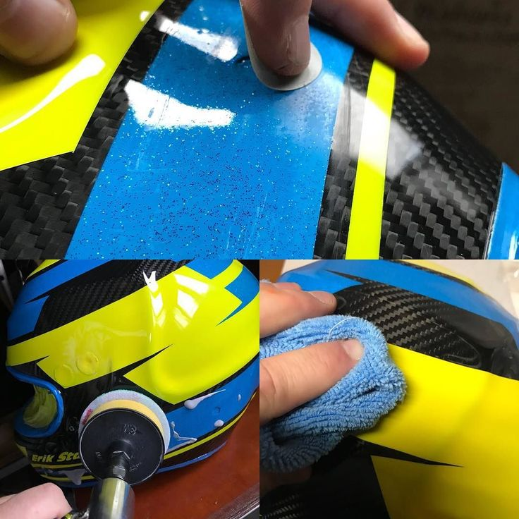 The process before mounting a helmet is to fix the surface if needed adjust/ sand down small dust particles (if there are some) :-) and then polish the final surface. All with 3M products. #3M #sweden #flake #neon #helmetpaint #iwata #helmetdesign #anestiwata #glasurit #basfrefinishing #hok #360gfx  #360gfx_com @erikstark #klarlack #clearcoating #painting #racing #art #howto #wip #3Mpps #supernova #film #recording #simpson #simpsonhelmet #polishing #sanding #polera