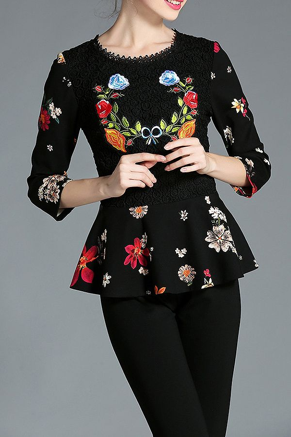 Lace Floral Peplum Top