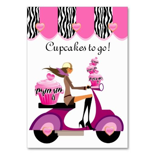 Cupcake Bakery Business Card Scooter Girl Zebra $29.95 per pack of 100!!