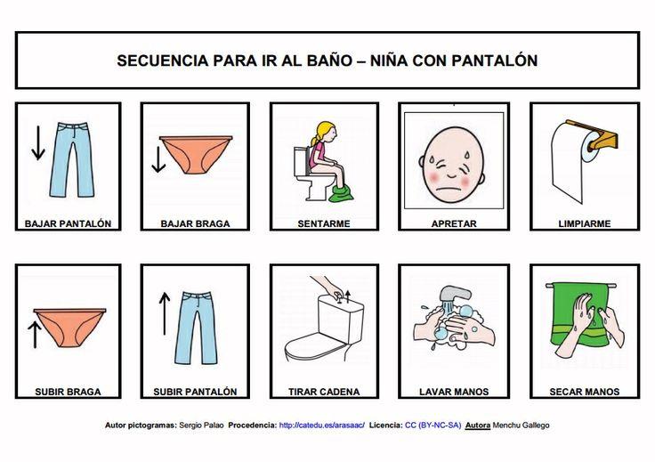 Imagenes De Ir Al Baño:- Secuencias para ir al baño: niña con falda y pañal Conjunto de