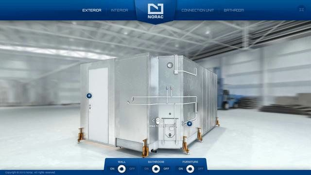 Flash application created for Norac to present their module based cabin solutions for offshore installations