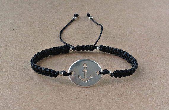 Anchor Bracelet Satin Cord Black Macrame Bracelet by dngcreations